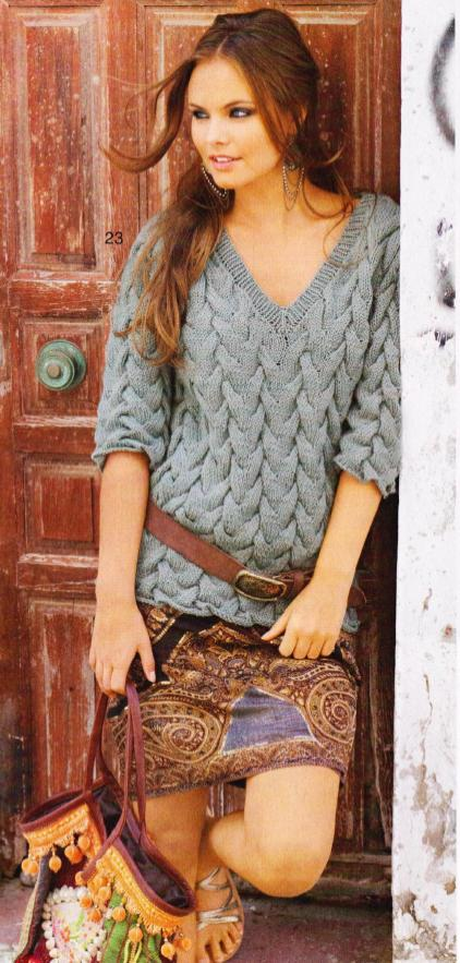 вязаный пуловер, вязаный спицами пуловер, вязаный пуловер женский,