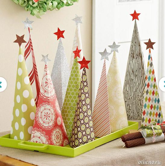 Бумажные декоративные елочки