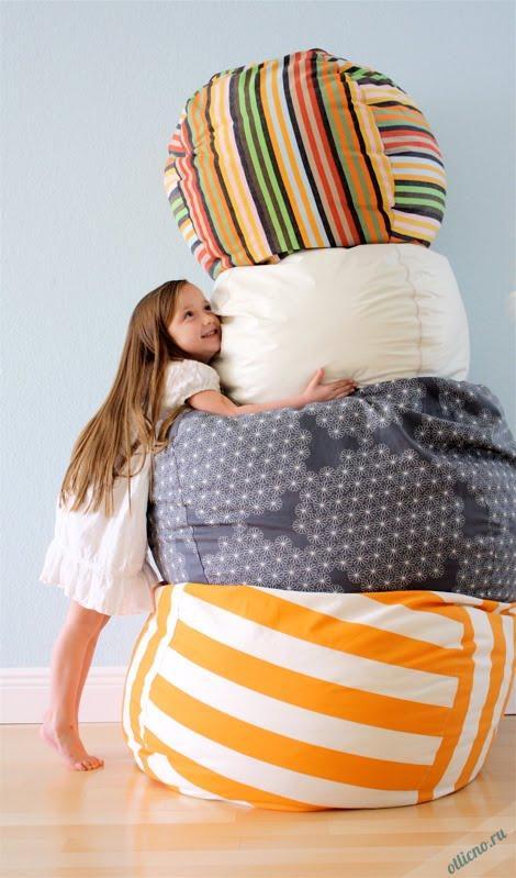 декор для дома, шитье, подушки своими руками, пуф, пуф своими руками, пуф-мешок
