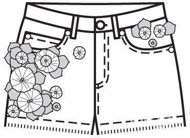 декор одежды, дизайн шорт, декор шортов
