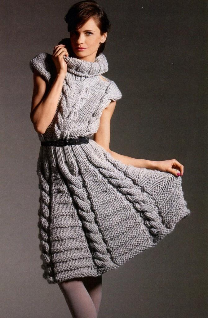 вязание, вязание для женщин, вязание спицами, вязание спицами туники платья, вязаные платья со схемами, платье своими руками, вязаное платье, платье с узором из кос