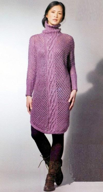 вязание, вязание для женщин, вязаные платья со схемами, вязаное платье, платье-свитер