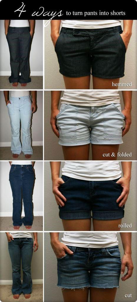 переделываем вещи, полезное рукоделие, как сделать шорты из джинсов
