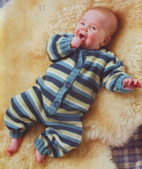 вязание, вязание для детей, вязание для новорожденных, вязание спицами, комбинезон для малыша, вязаный комбинезон