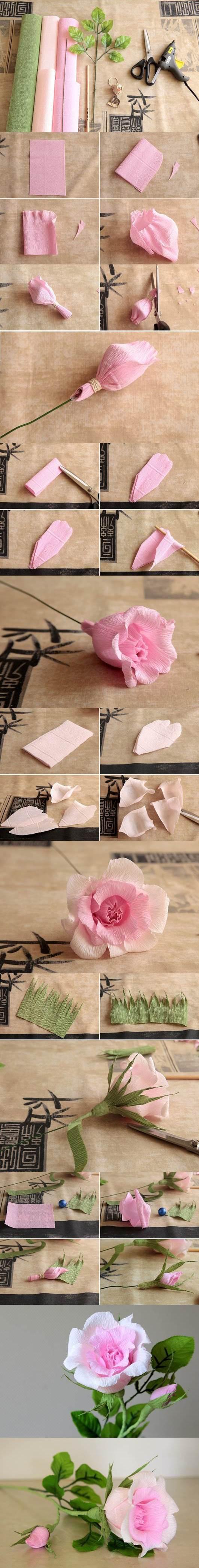 DIY-Beautiful-Pink-Crepe-Paper-Rose-1