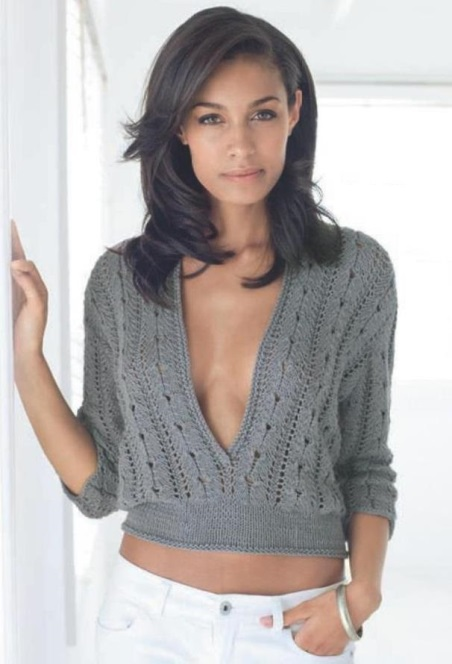 Короткий пуловер с большим вырезом на груди, вязание, вязание для женщин, вязание спицами, пуловер свитер