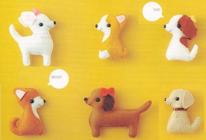шьем детям, игрушки своими руками, поделки из фетра, собака из фетра, выкройки собак