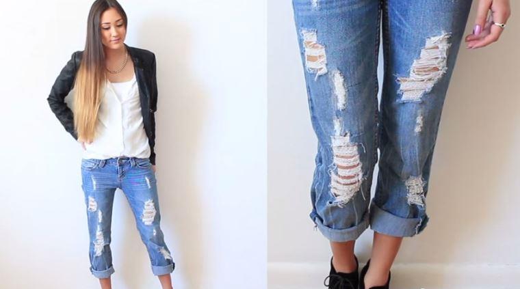 Потёртость на джинсовых шортах своими руками