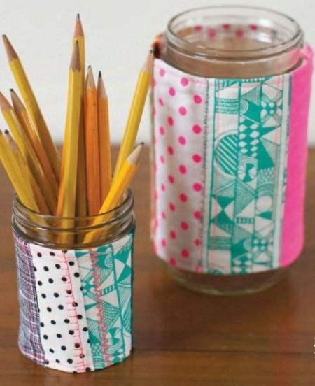 пэчворк идеи, Украшение стакана пэчворк, поделки из ткани, пэчворк, шитье своими руками, шитье, полезное рукоделие,