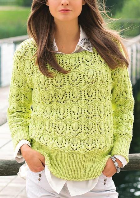 Вязание: Ажурный пуловер цвета лимон