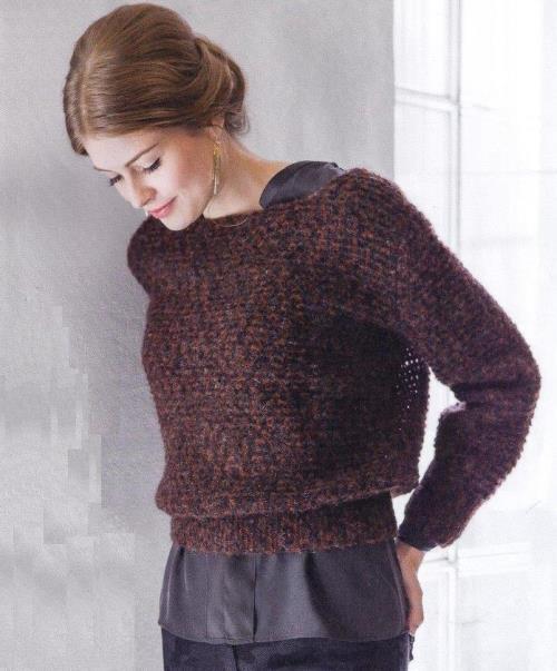 вязаный короткий пуловер