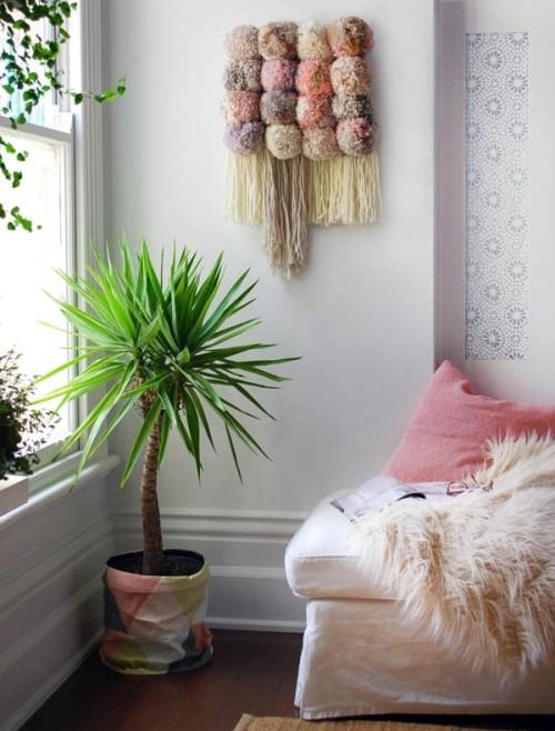 поделки из помпонов, панно на стену, украшения своими руками для дома, настенные украшения,