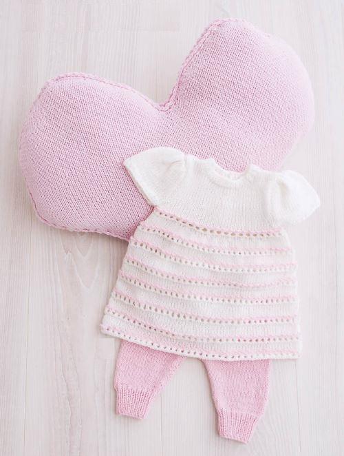 Вязаное платье и штанишки для девочки, вязание, вязание для девочек, вязание для новорожденных, вязание спицами, вязаные платья со схемами,