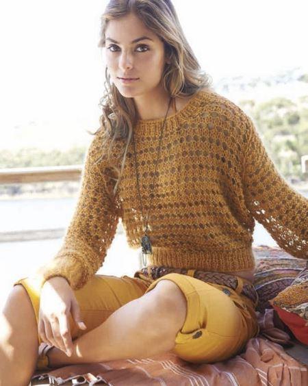 Женский ажурный вязаный пуловер спицами, вязание, вязание для женщин, вязание спицами, пуловер свитер,