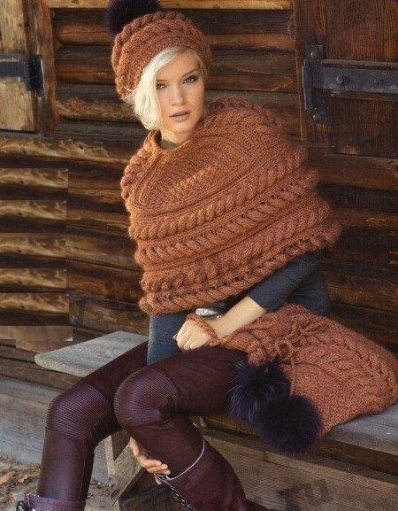 вязаный комплект, вязание, вязание для женщин, вязание спицами, накидки пончо, сумка своими руками, шапка