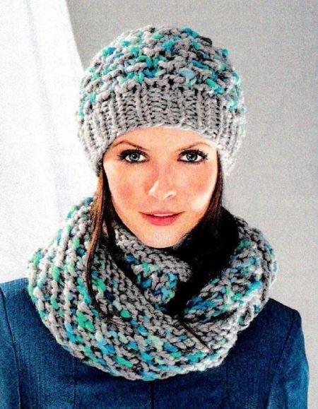 шапка и шарф-петля с красивым узором, вязание, вязание для женщин, вязаные шарфы схемы, шапка, вязание спицами,