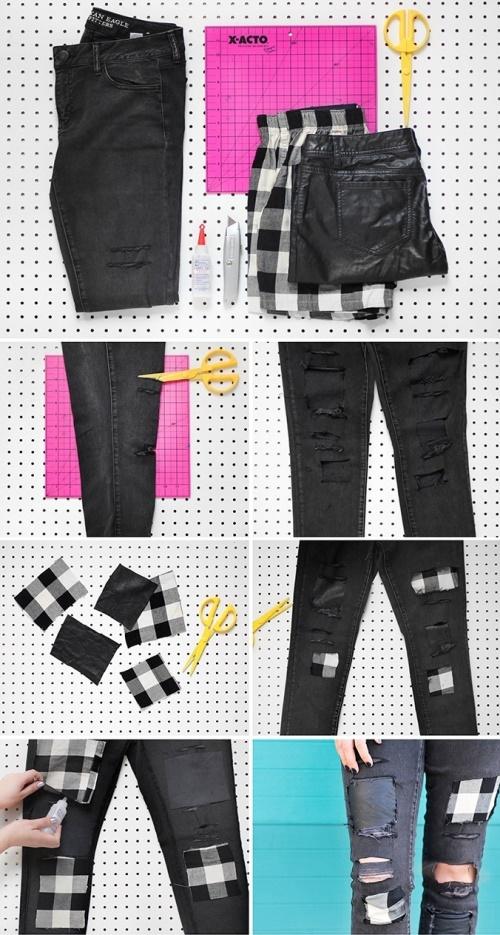 рваные джинсы с заплатами в стиле пэчворк