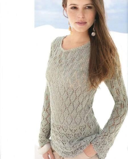 Вязаный спицами ажурный пуловер по фигуре