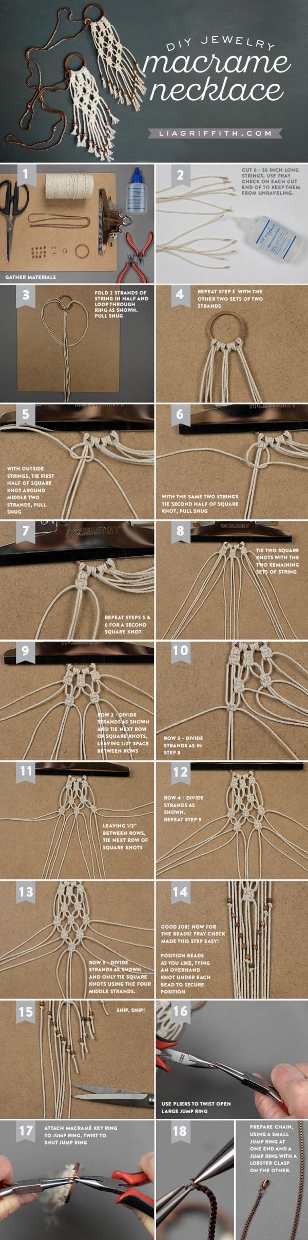 Ожерелье в технике макраме, колье своими руками