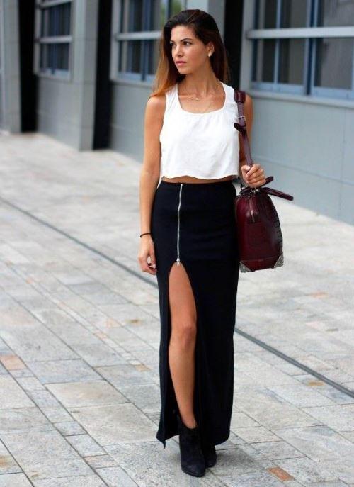 Модный тренд: высокий разрез на юбке