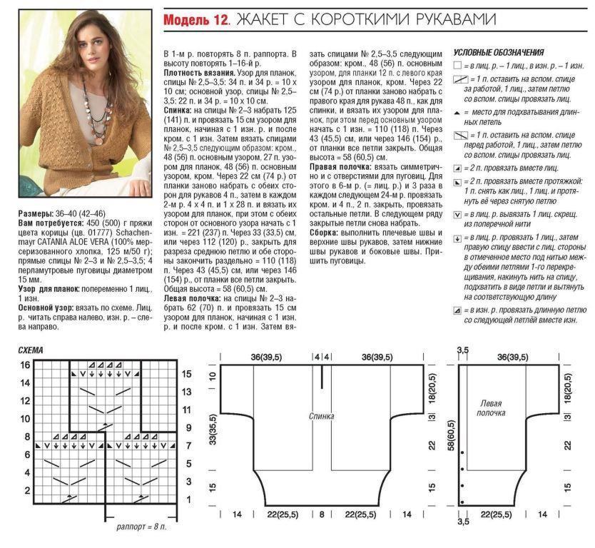 страницу схемы вязания кофты с коротким рукавом рабочего