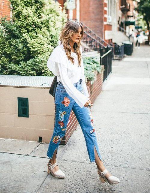 Модный тренд 2017: джинсы с вышивкой