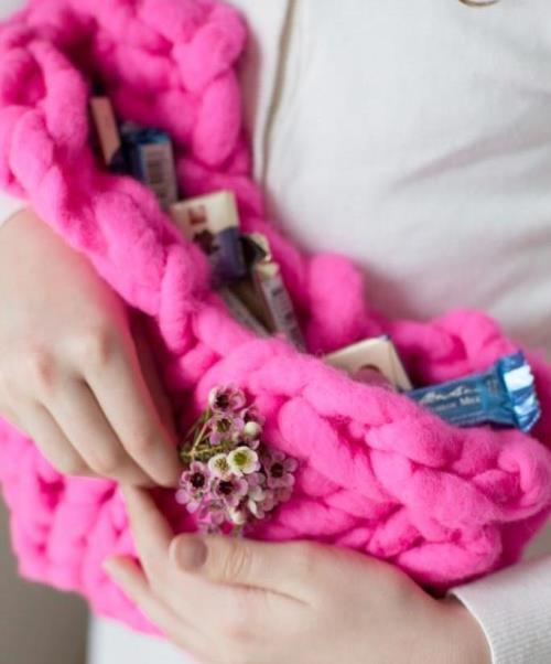 Вязаная сумка-сердце
