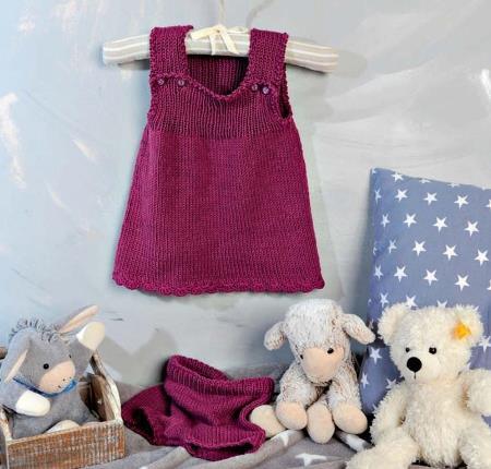 Вязаное спицами платье-сарафан и штанишки для девочки