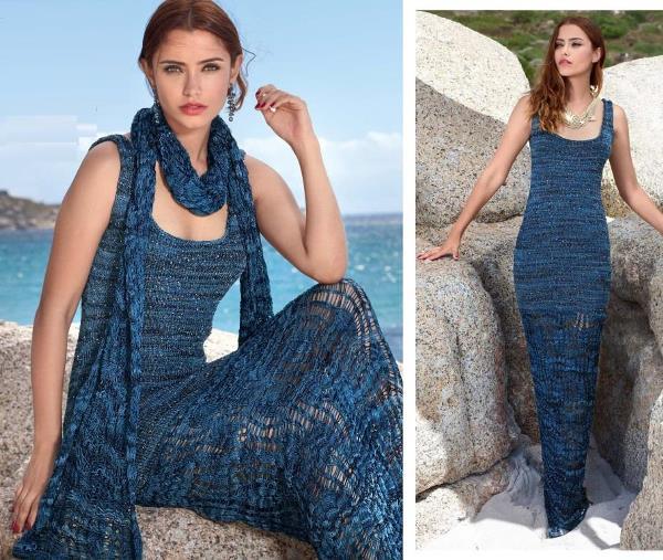 Длинное летнее вязаное платье с ажурным низом