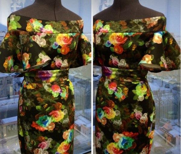 Вечернее платье с открытыми плечами и рукавами воланами