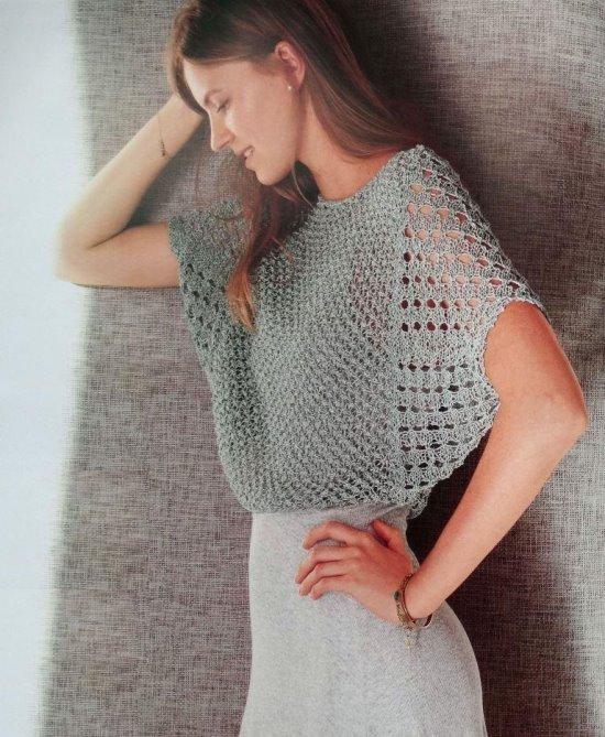 """Ажурный укороченный пуловер """"летучая мышь"""""""