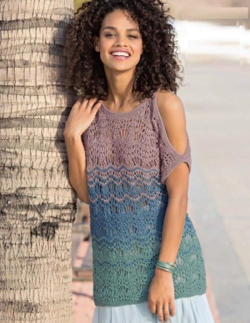 Летний ажурный пуловер с вырезами на плечах