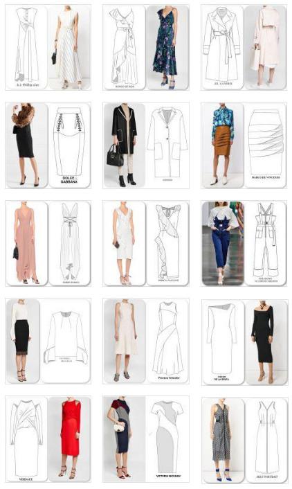 Технические рисунки подиумных нарядов