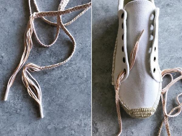 Шнурки с кисточками из мулине для летней обуви