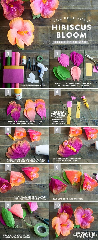 Как сделать цветок гибискуса из бумаги