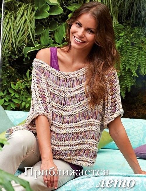 Пуловер фантазийным узором со спущенными петлями