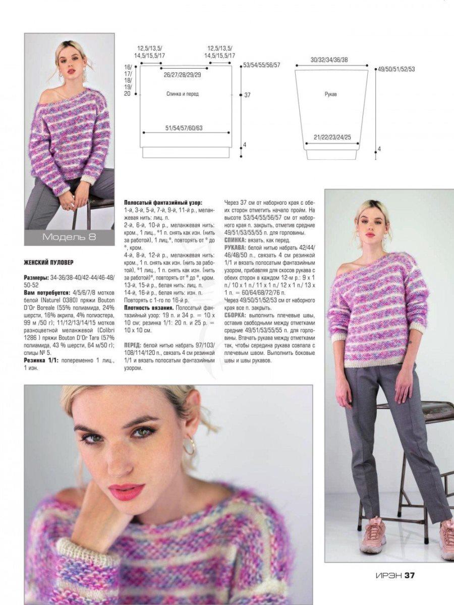 Меланжевый пуловер в полоску. Схема вязания
