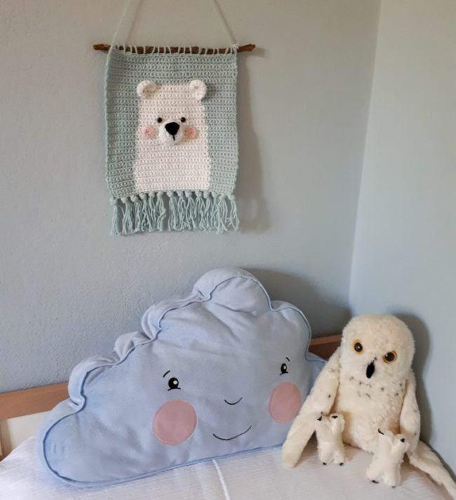 """""""Вязаный мишка"""" - декоративное панно для детской"""