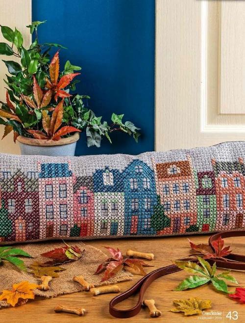 Вышивка крестом: узор «Город» для подушки от сквозняка