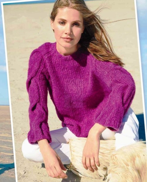 Пуловер реглан с косами на рукавах