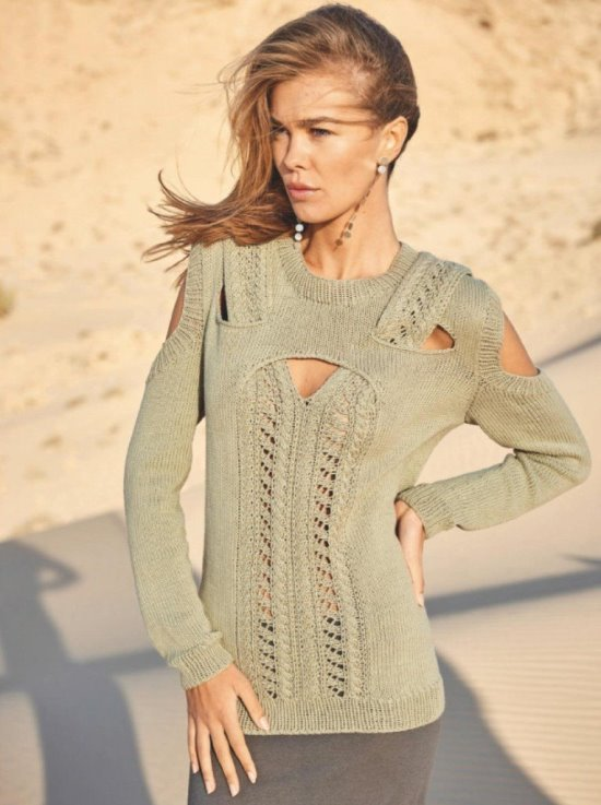 Пуловер с декоративными вырезами