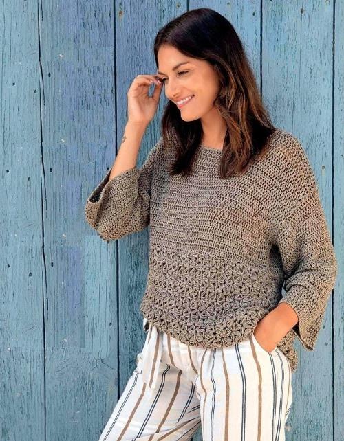 Пуловер с жасминовым узором