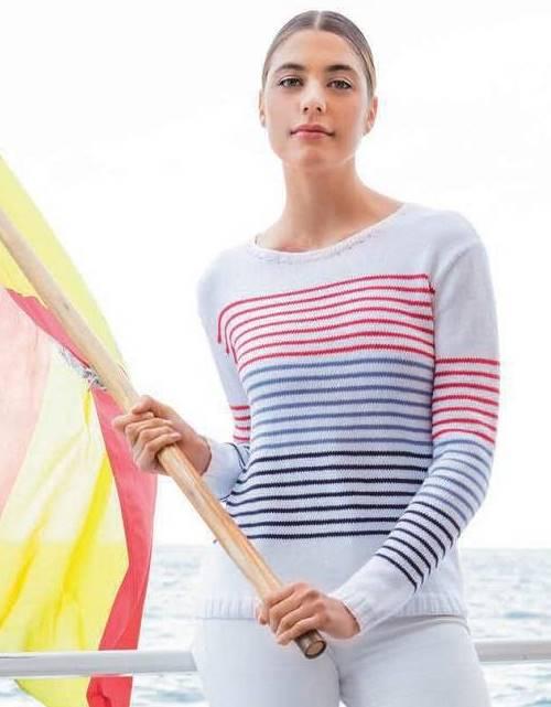 Вязание спицами: Пуловер с полосками в морском стиле