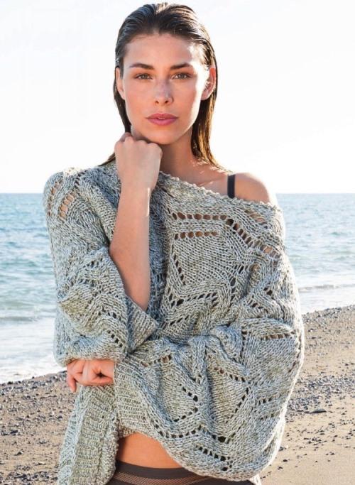 Ажурный пуловер-кимоно