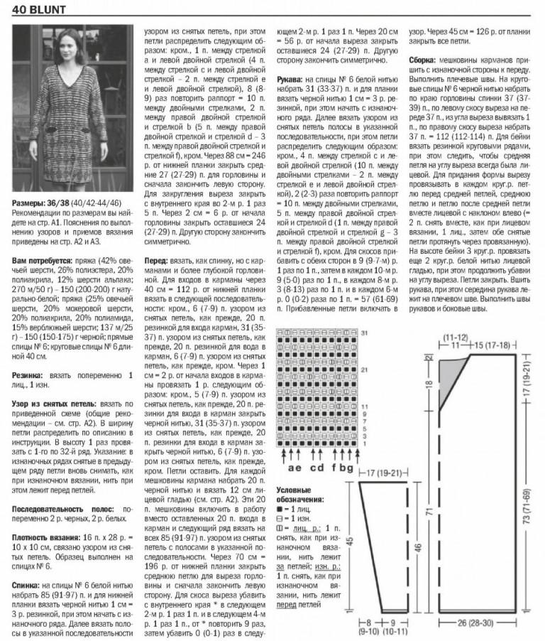Вязаное платье-пуловер. Схема и описание вязания