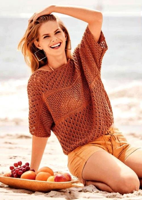 Летний ажурный пуловер с миксом узоров