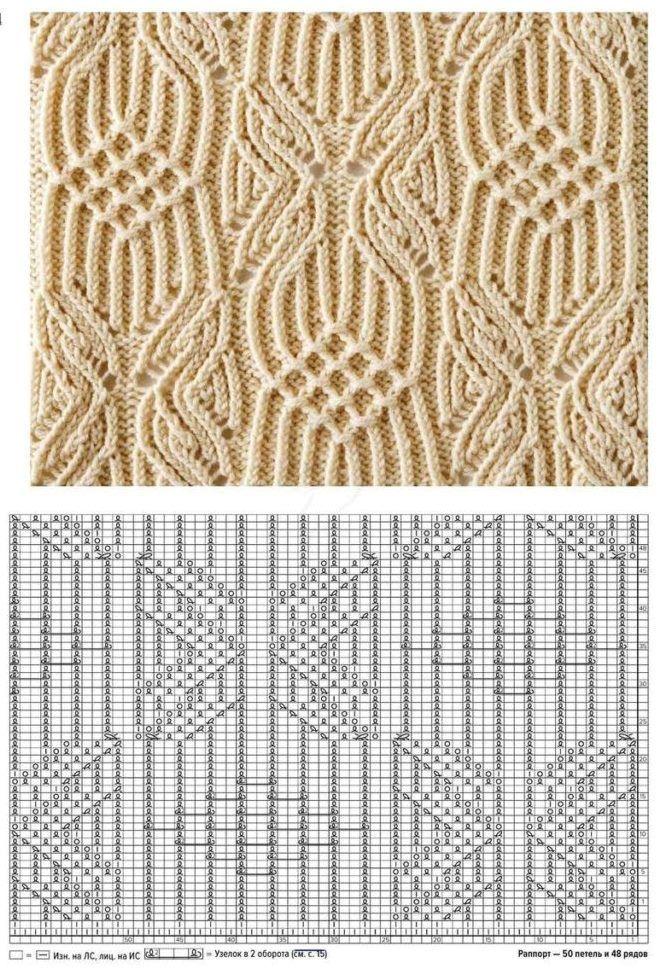 Стильный свитер ажурным узором. Схема вязания