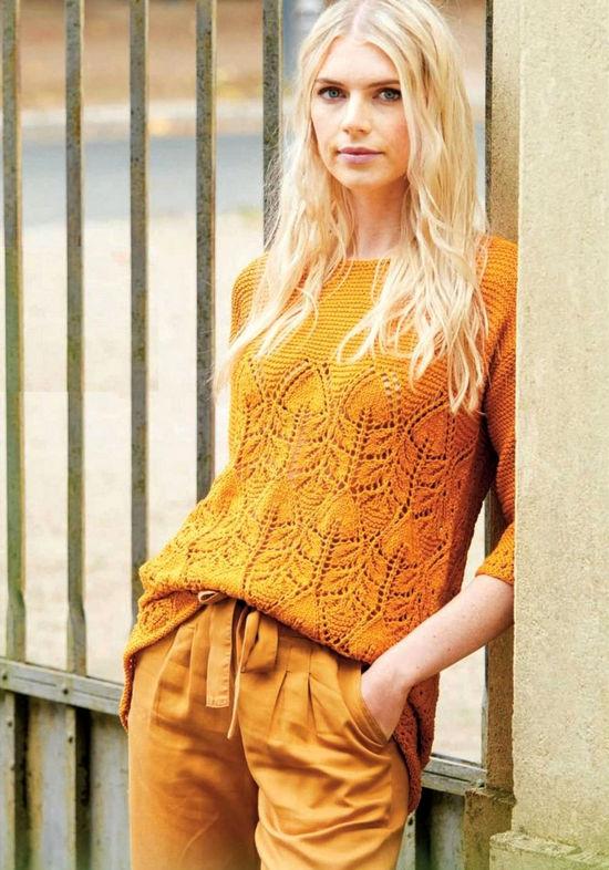 Пуловер с лиственным узором