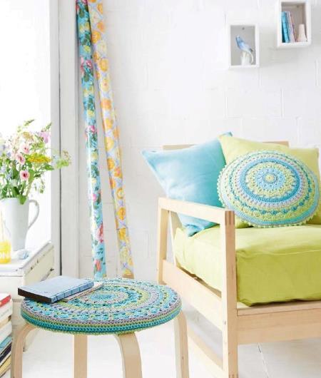 вязаная подушка, вязаный чехол на табурет, вязание, вязание крючком, вязание для дома, украшения своими руками для дома,