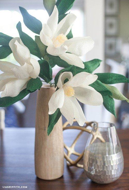 бумажные цветы, магнолия из бумаги, цветы своими руками, поделки из бумаги, декор для дома,